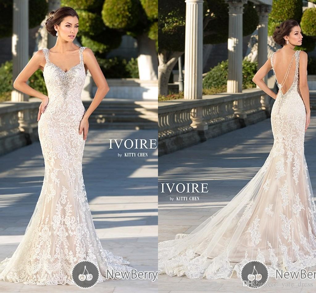 2015 Mermaid Wedding Dresses Lace Bridal Gowns V Neck