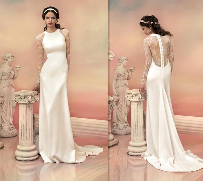 Sheath Wedding Gown Pattern : Wedding dress vinatge lace pattern long sleeved sheath satin