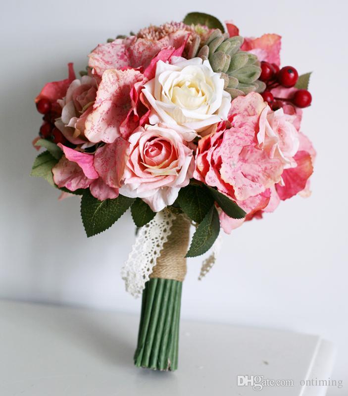 Оптом - Сделано в Китае Зимний цветок венчания Другое Свадебные аксессуары Рука цветы Искусственные цветы Букет сувениры Свадебные аксессуары WW