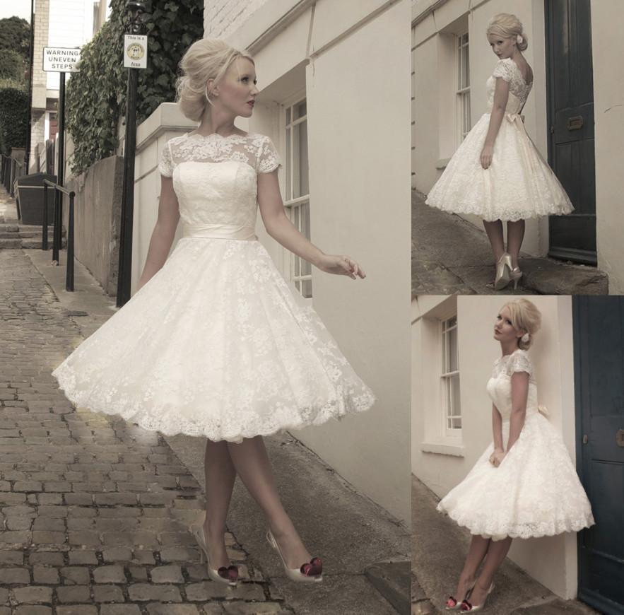Discount 2015 Lace Short Wedding Dresses A Line Bateau Short ...