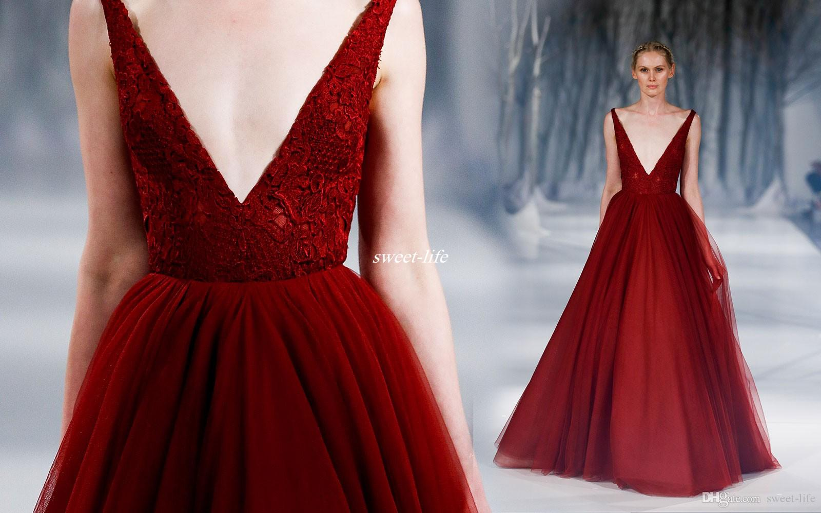 Burgundy Ball Gown Prom Dresses Vintage Lace Deep V Neck ...