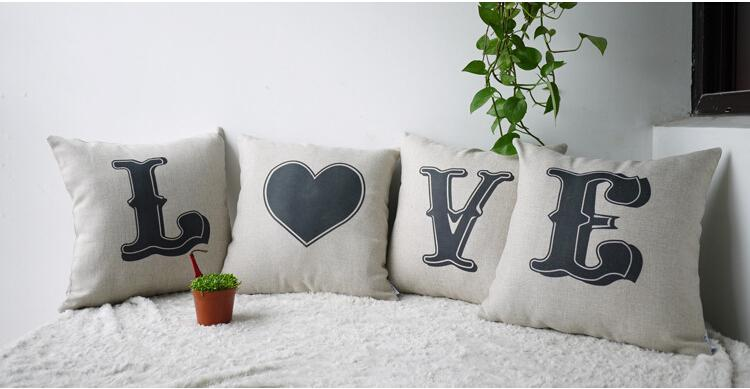 Love Letter Pillow Decorative Cushion Covers Linen Cotton Sofa Car