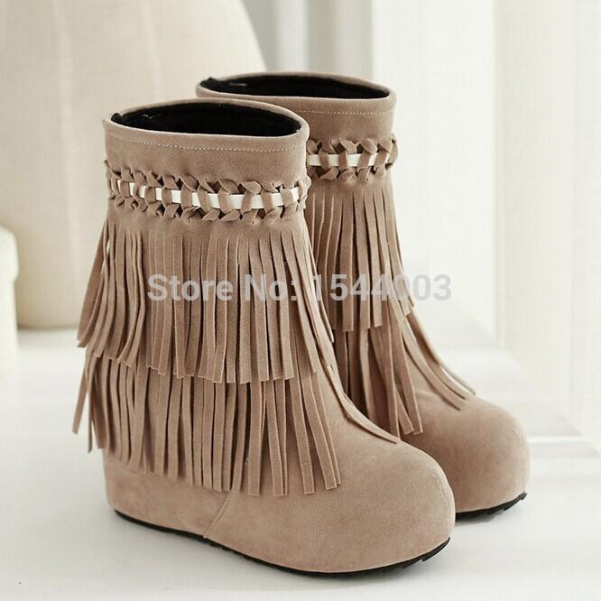 Black/Red 2 Layer Fringe Boots For Women Mid Calf Women Fringe ...