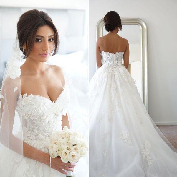 White floral wedding dress.
