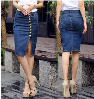 Best Quality Europe Women Short Skirts Big Girl Fashion Button ...