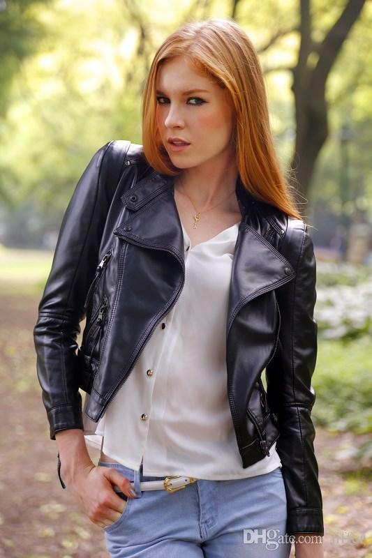 Europe Style Women'S Leather Little Leather Jacket Leather ...