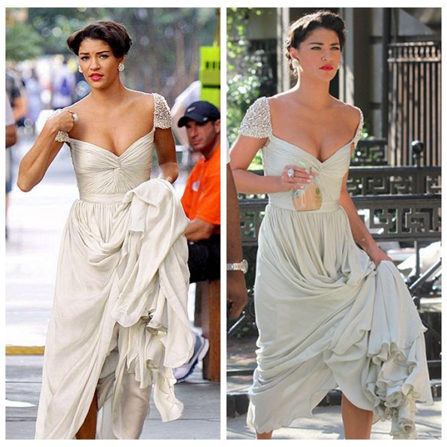 Vanessa Hudgens Long White Prom Dresses Chiffon Cap Sleeves ...