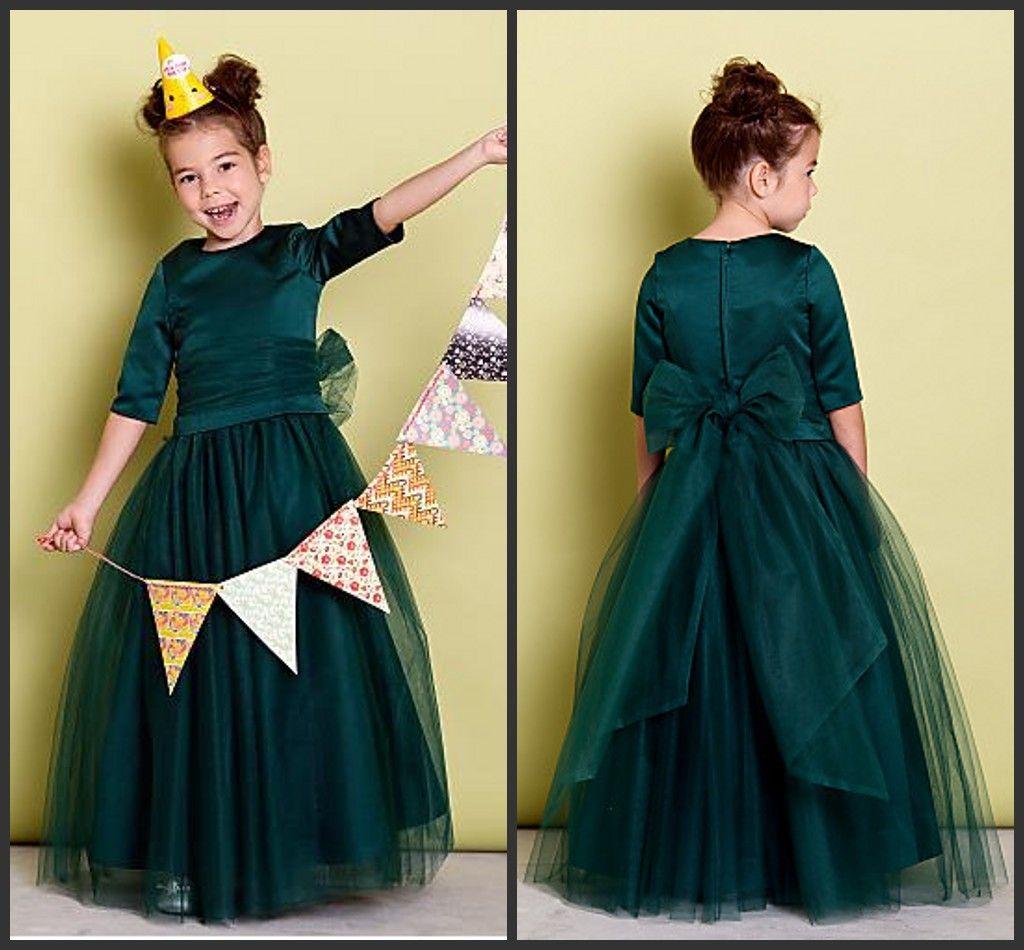 Dark Green 2016 Jewel Flower Girls Dresses 1 2 Long Sleeve