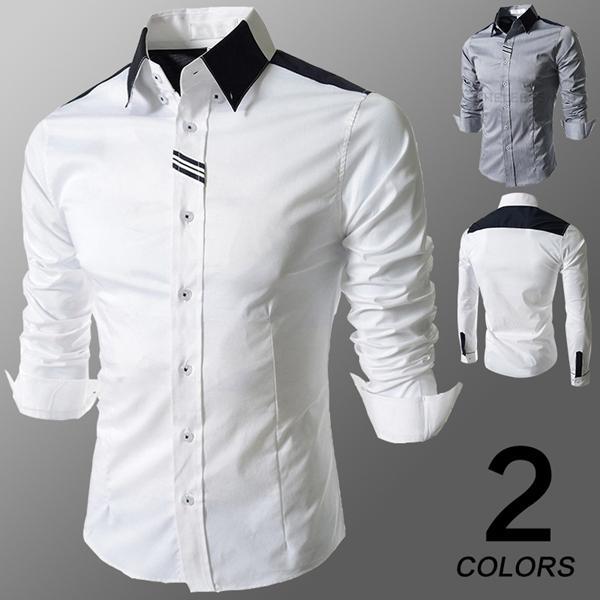 Best 2015 New Autumn Casual Style Shirts Men Unique Patchwork Long ...