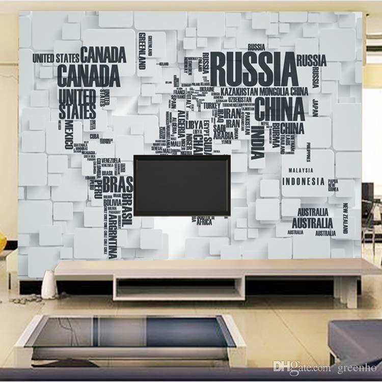 Wall Mural Decals fashion 3d view art mural decal world map photo wallpaper tv