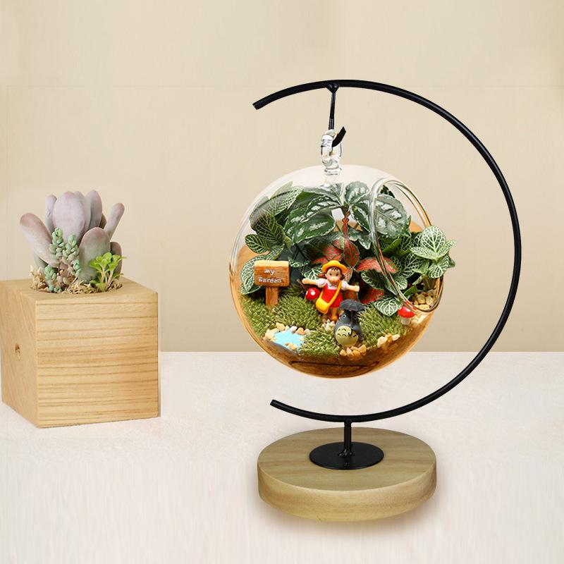 home decoration flowers vases tabletop wood stand hanging glass vases wedding decorative gifts - Decorative Glass Vases