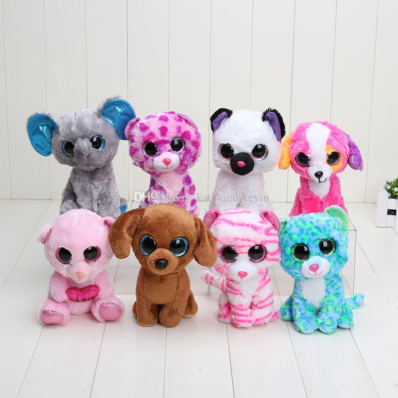 2017 Ty Big Eyes Beanie Boos Plush Toys Bear Penguin Dog