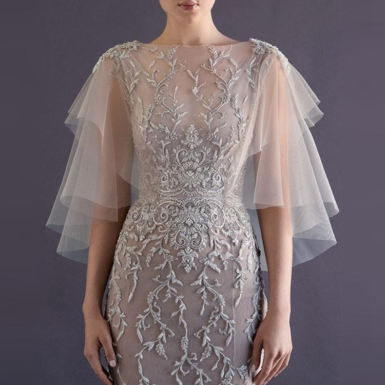 Best Simple Bridal Wraps Jackets Soft Tulle With