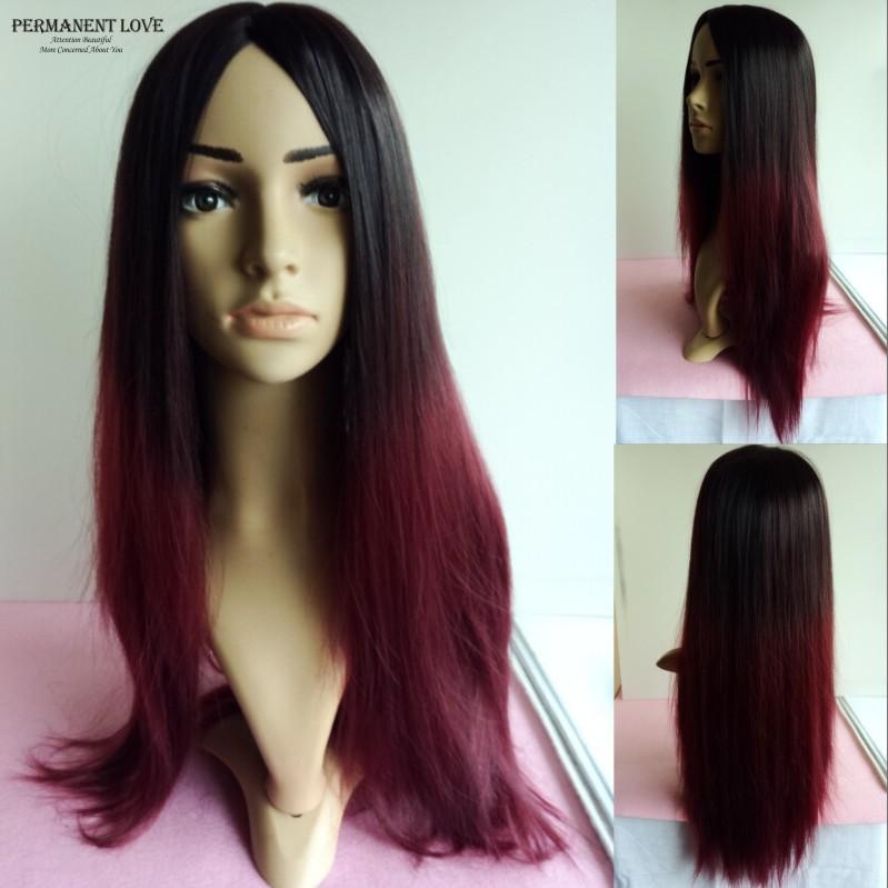 Peachy Long Straight Ombre Wigs Two Tone Wigs Black Burgundy Cheap Hairstyle Inspiration Daily Dogsangcom