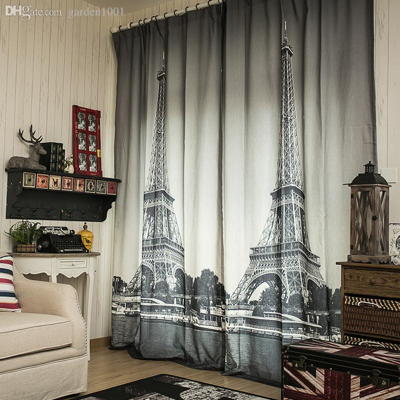 black and white paris minimalist curtain high grade french retro, Living room