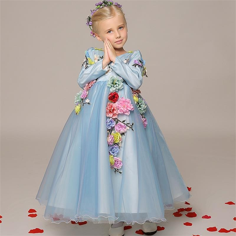 2016 Lovely Light Blue Flower Girl Dresses Flower Fairy Girls ...