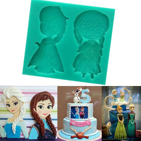 Elsa Anna Mould Silicone Cake Toppers Sugarcraft Chocolate