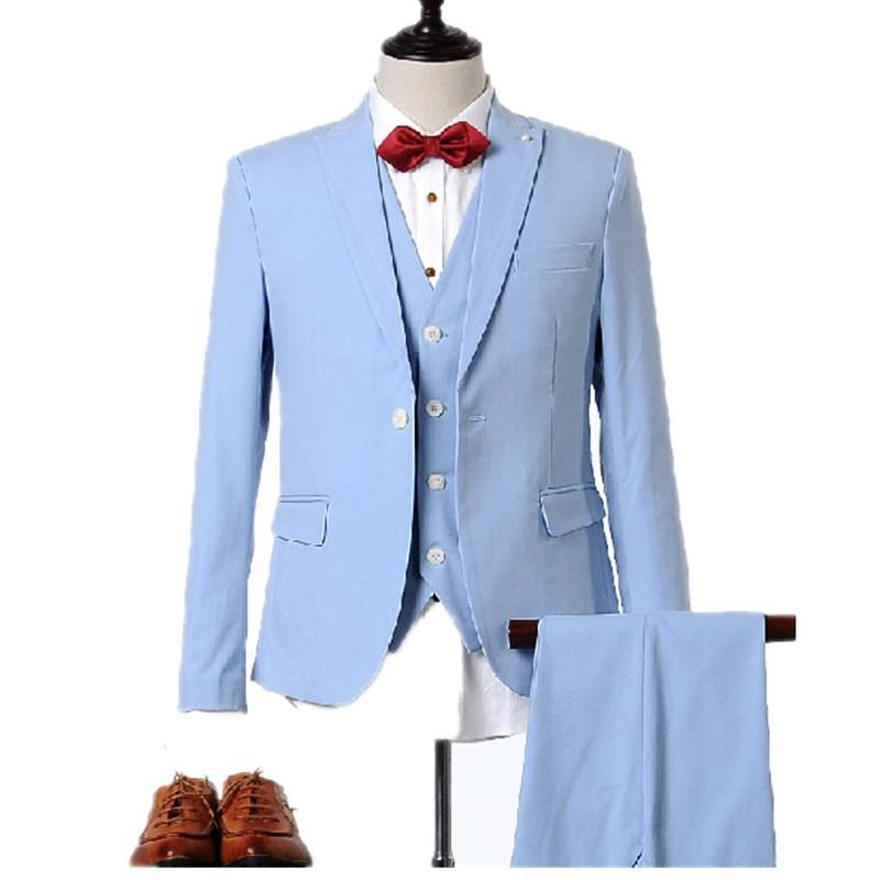 2017 Real Photo Light Blue Men Suits Blazers Groom Tuxedos ...