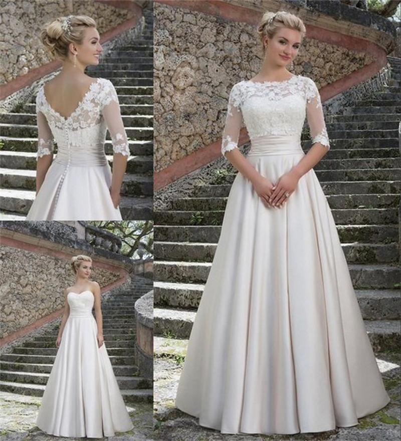 Discount 2016 sweetheart a line wedding dresses with lace for Wedding dresses without sleeves
