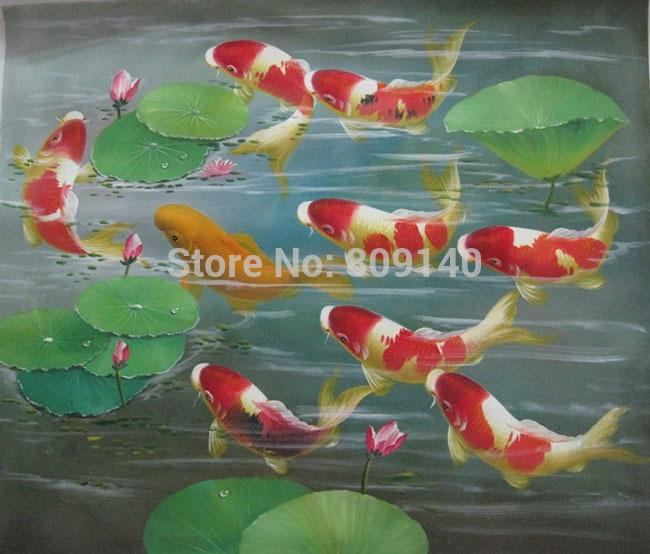 Feng Shui Koi Fish Oil Painting Canva Lotus Japanese Style Asian