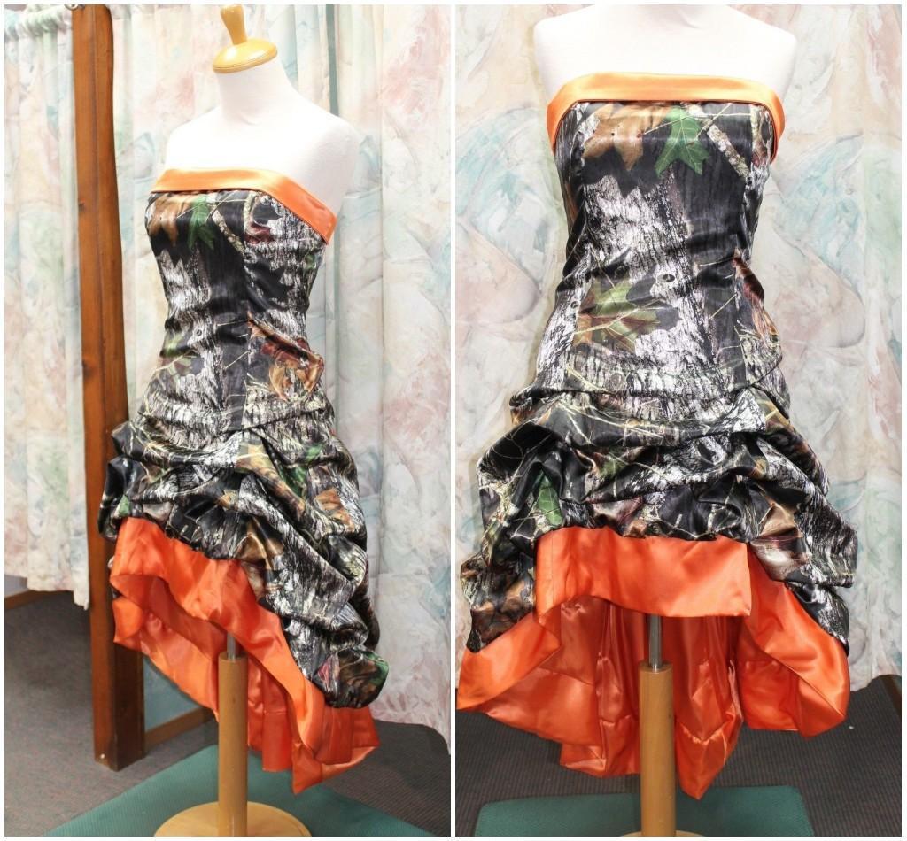 2016 orange camo short prom dresses strapless pick up for Orange and camo wedding dress