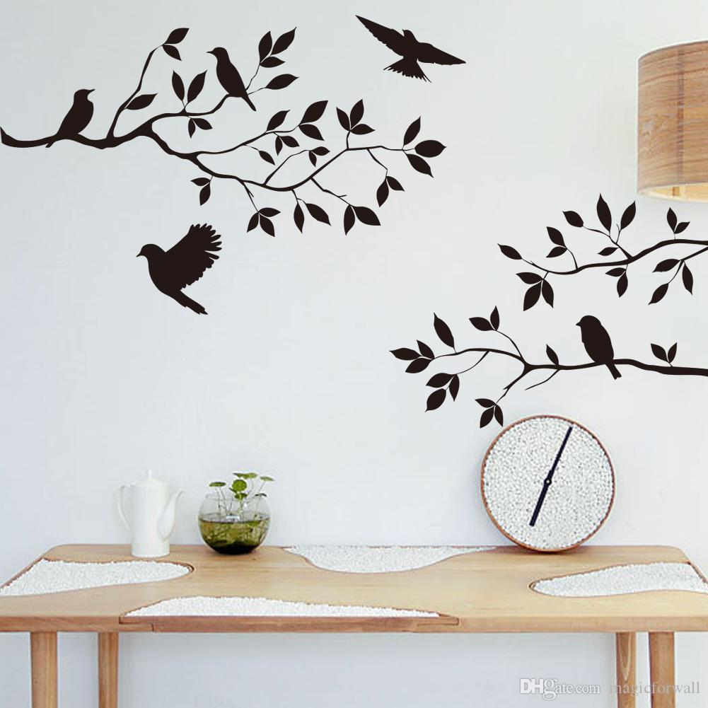 Black Bird And Tree Branch Leaves Wall Sticker Decal Removable - Wall decals birds
