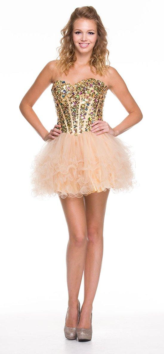Cheap Gold/Turquoise Short Corset Prom Dresses Sweet 16 Sweetheart ...