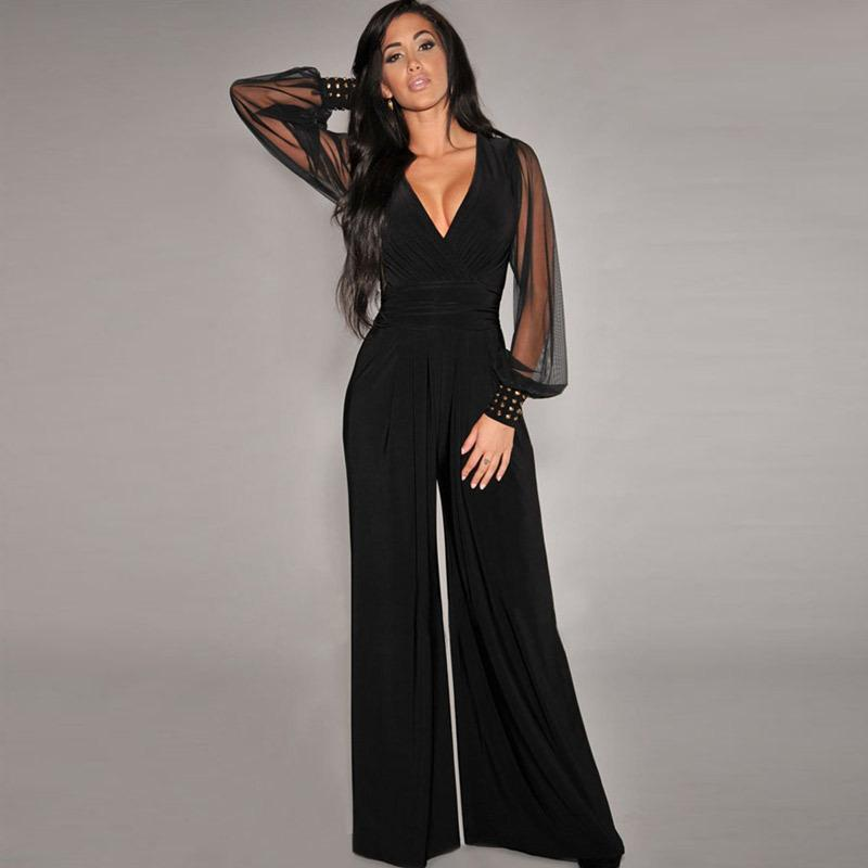 New Plus Size Sexy Women Jumpsuit Black Embellished Lantern Sleeve ...