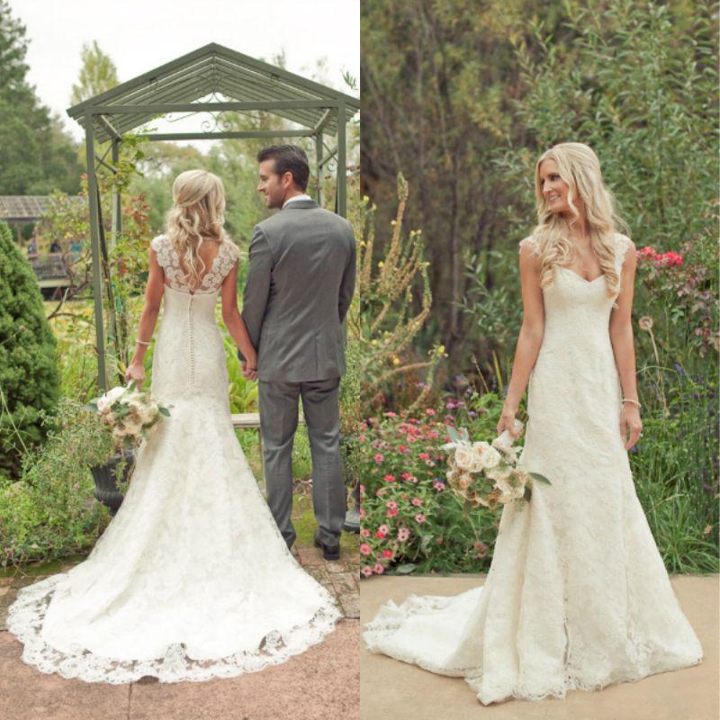 2015 Elegant Country Western Style Wedding Dress Ivory V Neck Mermaid Lace Vintage Bridal Gowns ...