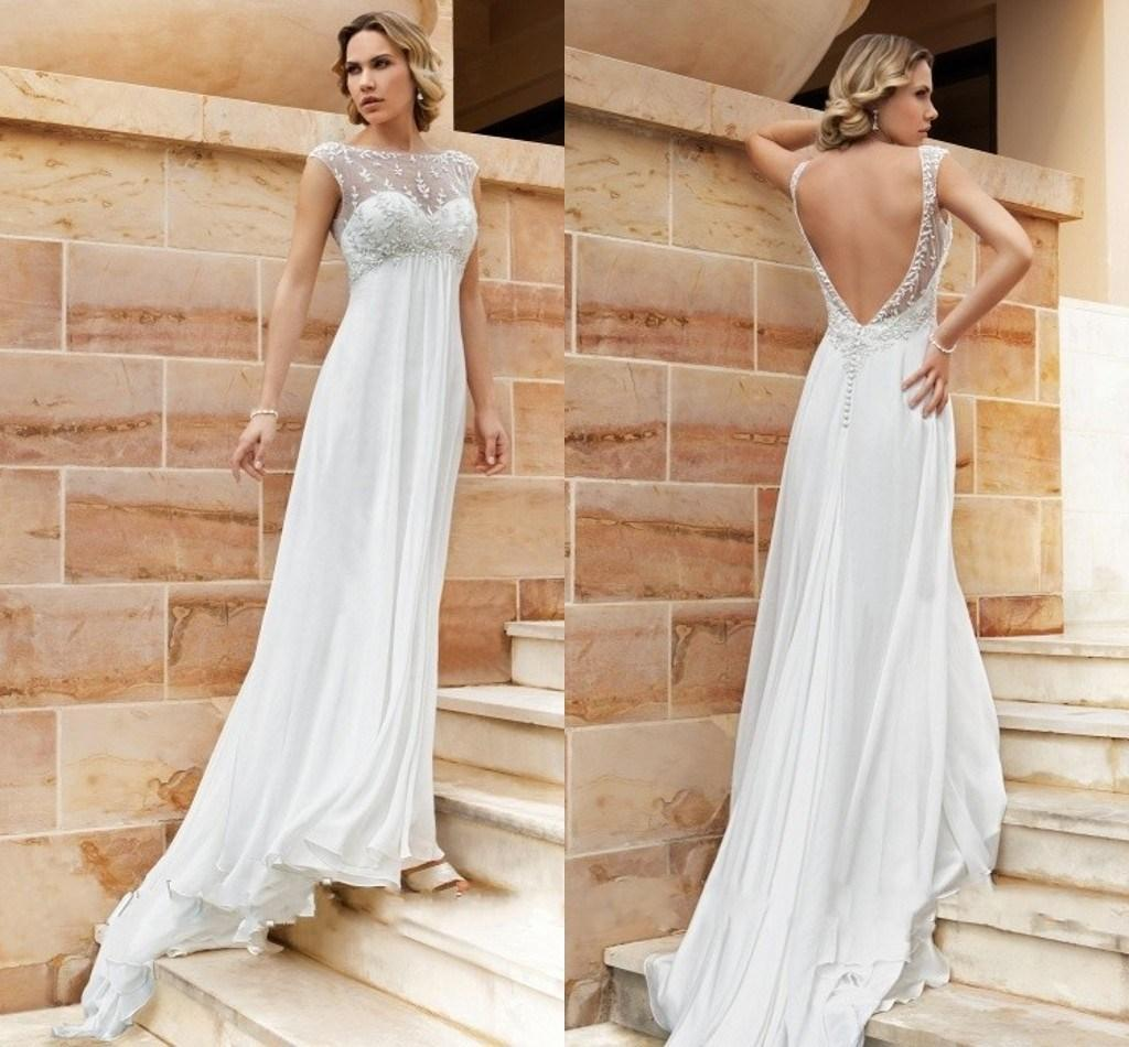 Cheap backless empire wedding dresses for pregnant women for Backless wedding dresses for sale