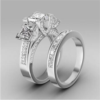 Best Turkish Engagement Couple Rings Princess Cut Sapphire WomenS