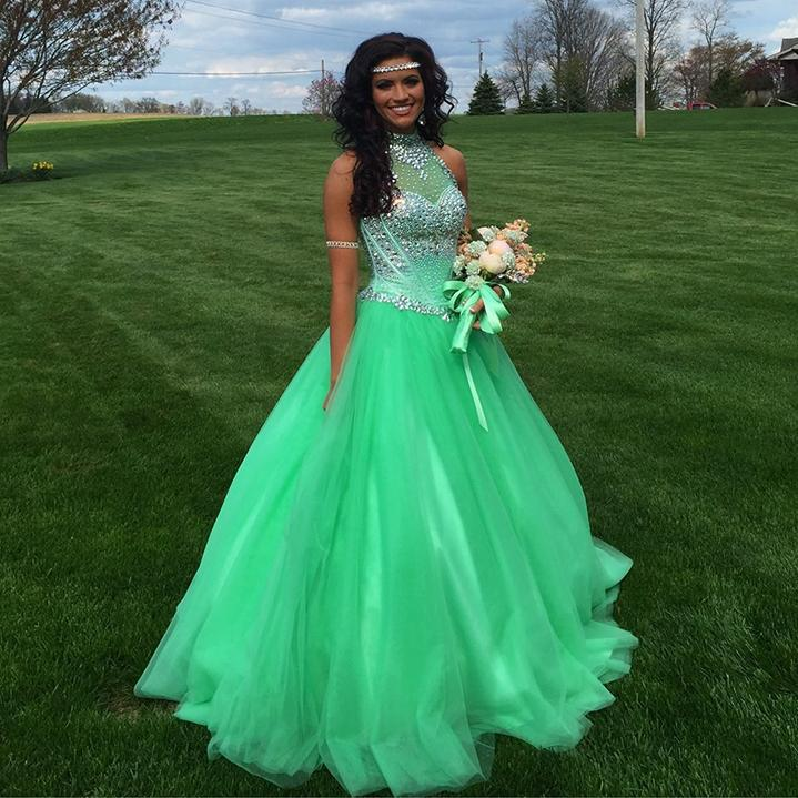 2016 Mint Green Quinceanera Dresses With High Neck Beaded ...