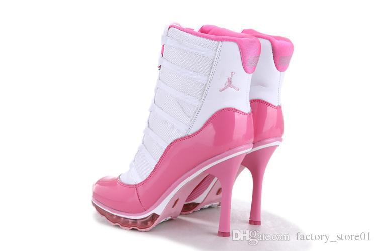 Nike Air Jordan High Heels All White Womens Basketball Shoes