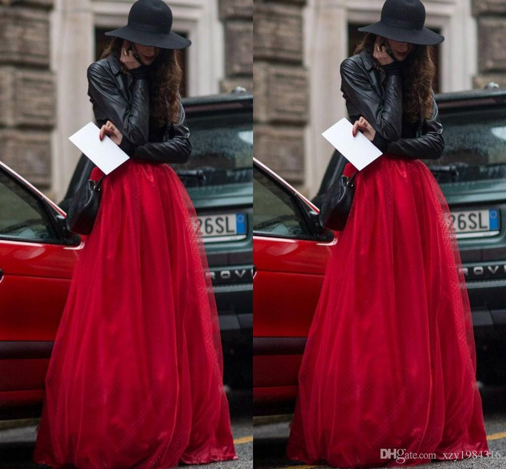 2015 New Arrival Red Tulle Skirt Tiered Brisk Puffy Long Women ...