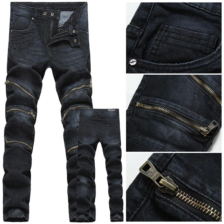 2016 Zip Balmain Men Jeans Men's Jeans Fashion High Quality Mens ...