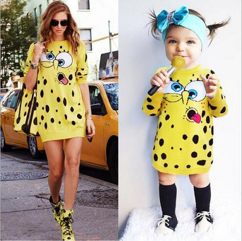 Cartoon Knitted Sweater Dresses Girls Family Clothing Dresses For ...
