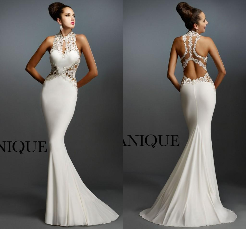Janique 2015 Sexy Evening Dress Mermaid Halter Sheer Back Sweep ...