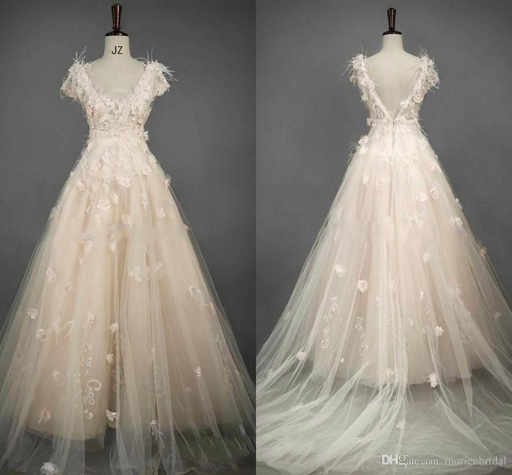 Blush Wedding Dress With Feathers : Luxury blush tulle wedding dresses a line bridal gown