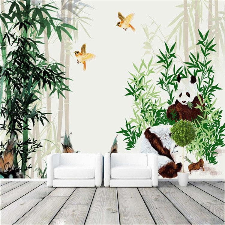 Cute pandas eat bamboo photo wallpaper eco friendly wall for Bamboo wall mural wallpaper