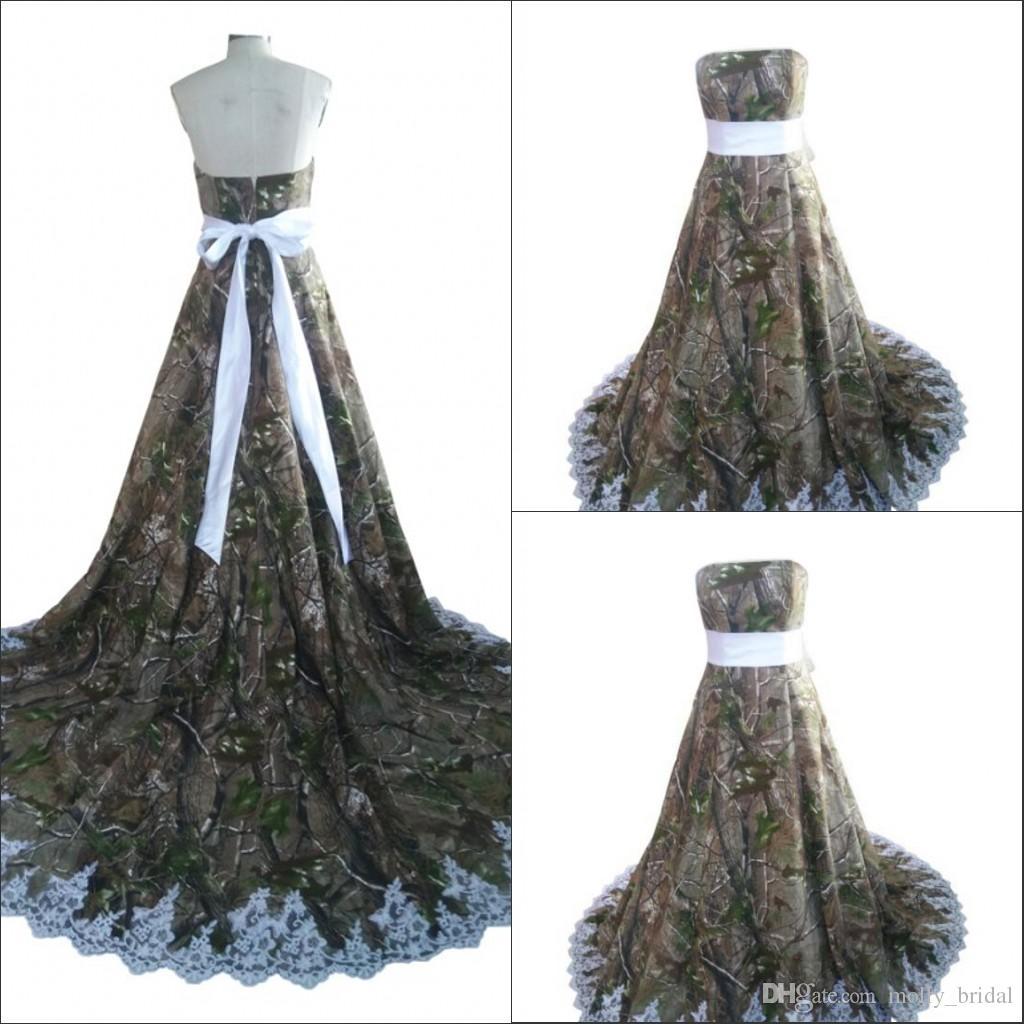 Discount 2016 designer camo wedding dresses applique bow for Camo ribbon for wedding dress