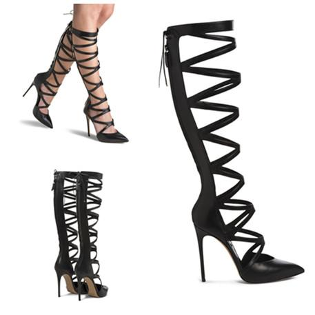 2015 Women Shoes Woman Gladiator High Heels Strappy Sandals Pointy ...