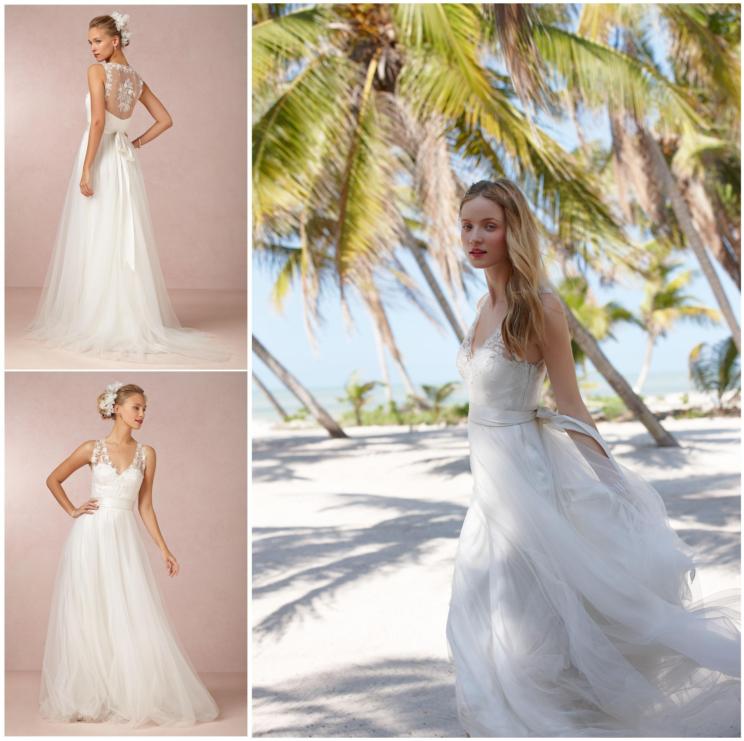 2015 flowing tulle wedding dresses lace appliques v neck for Flowing beach wedding dresses
