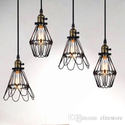 vintage bird cage decoration pendant lamp black twisted cable unique american style with edison bulbs e26 cage lighting pendants