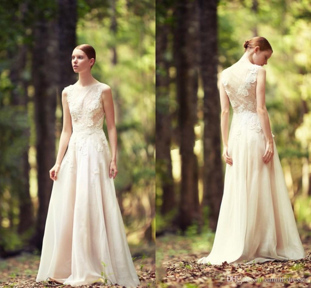 Sheer lace vintage wedding dress 2015 berta sexy garden for Lace sheath wedding dress vintage