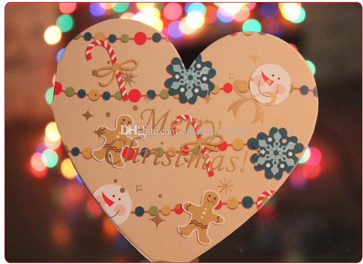Sweet Heart-shaped 10*9.5cm Merry Christmas Greeting Cards Wish ...