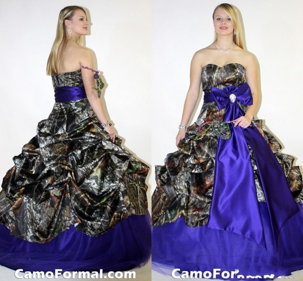 discount royal blue and camo wedding dresses 2016 a line