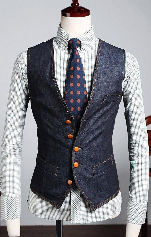 The New Men's Denim Vest Brand Jeans Vest Men Cowboy ...
