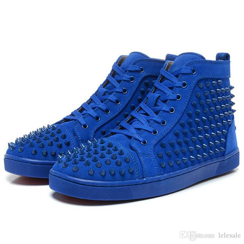 New Arrival Mens Womens Matter Leather with Spike Studded High Top ...