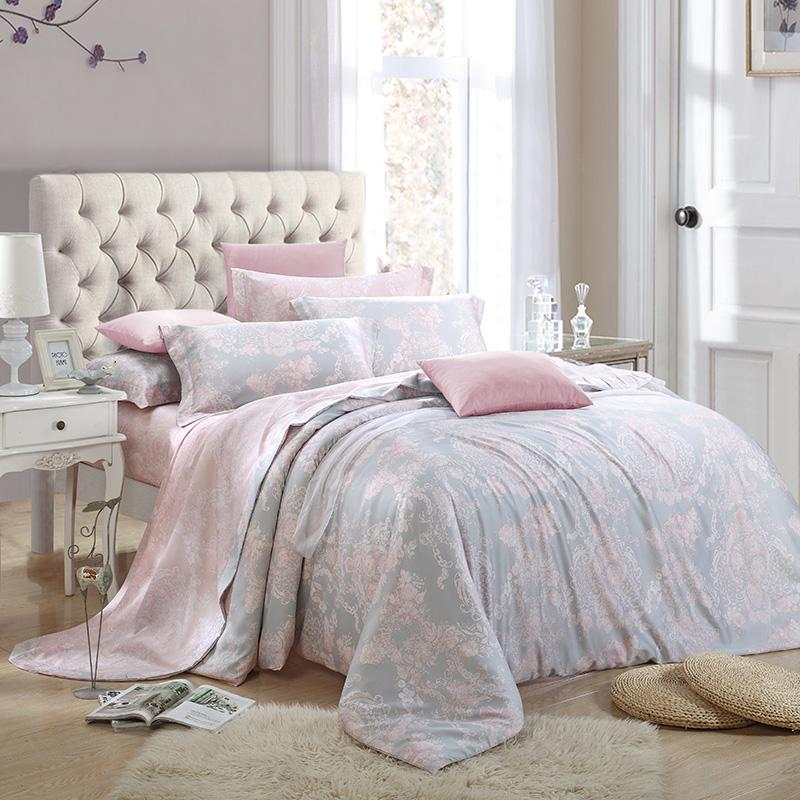 2015 Bedding Sets Tencel Soft Comfortable Pink Gray