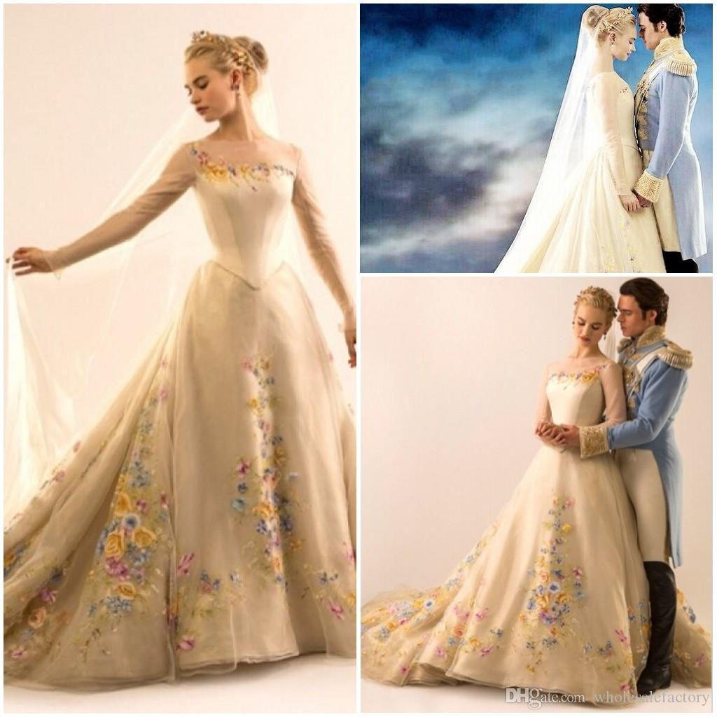 Discount 2015 wedding dress lily james cinderella wedding for Cinderella wedding dress up